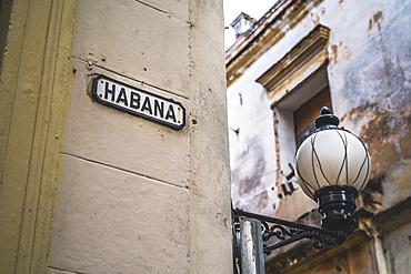 Habana street sign, La Habana (Havana), Cuba, West Indies, Caribbean, Central America