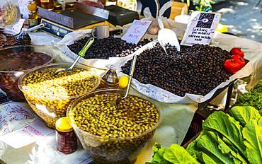 Olive stand, Chania, Crete, Greek Islands, Greece, Europe