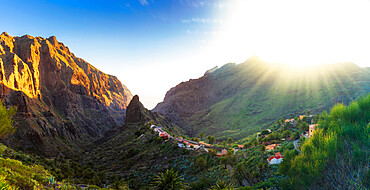 Panoramic aerial view over Masca village, the most visited tourist attraction of Europe, Spain, Canary Islands, Tenerife