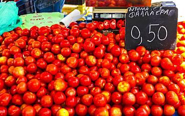 Tomatoes for sale, Chania, Crete, Greek Islands, Greece, Europe