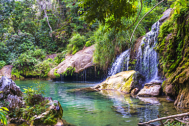 El Nicho waterfall in the Sierra del Escambray mountains not far from Cienfuegos, Cuba, West Indies, Caribbean, Central America