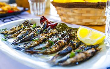 Grilled sardines, Crete, Greek Islands, Greece, Europe