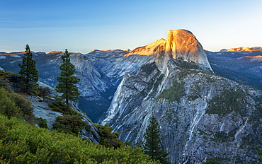 Half Dome at dusk from Glacier Point above Yosemite Valley, UNESCO World Heritage Site, California, United States of America, North America