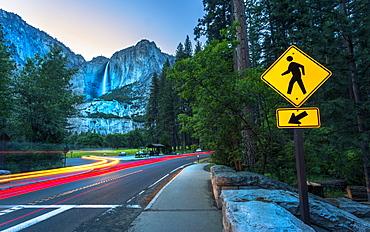Yosemite Falls and car trail lights, Yosemite National Park, UNESCO World Heritage Site, California, United States of America, North America
