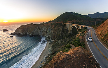 Sunset over Bixby Creek Bridge, Big Sur, California, United States of America, North America