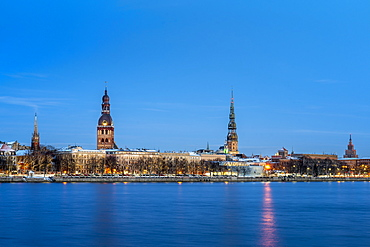 Riga's skyline at night in winter, Old Town, UNESCO World Heritage Site, Riga, Latvia, Europe