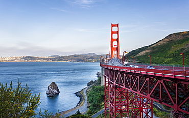 View of Golden Gate Bridge from Golden Gate Bridge Vista Point at sunset, San Francisco, California, United States of America, North America