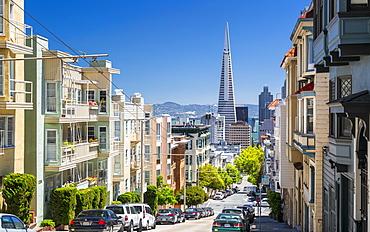 Street view of Transamerica Pyramid and Oakland Bay Bridge, San Francisco, California, United States of America, North America