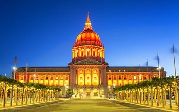 View of San Francisco City Hall illuminated at night, San Francisco, California, United States of America, North America