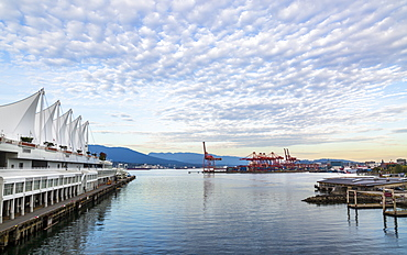 View of North Vancouver, Waterfront and Harbour from Canada Place at dusk, Vancouver, British Columbia, Canada, North America
