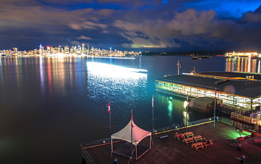 View of Vancouver Downtown from Lonsdale Quay North Vancouver at dusk, Vancouver, British Columbia, Canada, North America
