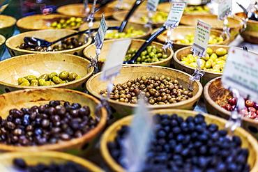 Olive stand in Borough Market, Southwark, London, England, United Kingdom, Europe