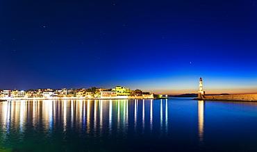 Panoramic view of The Venetian Harbour at night, Chania, Crete, Greek Islands, Greece, Europe