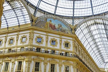 Architectural detail inside glass dome mall, Galleria Vittorio Emanuele II at Piazza del Duomo, Milan, Lombardy, Italy, Europe