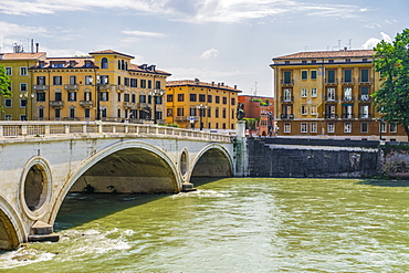 View of Victory Bridge with background buildings on River Adige, Verona, Veneto, Italy, Europe