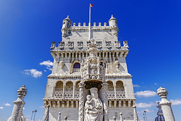 Fortified floors and terrace view of the Torre de Belem (Belem Tower), medieval defensive tower on the bank of Tagus River, UNESCO World Heritage Site, Belem, Lisbon, Portugal, Europe