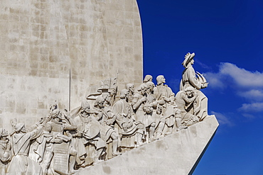 Limestone caravel shaped Padrao dos Descobrimentos (Monument to the Discoveries), Belem waterfront, Lisbon, Portugal, Europe