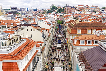 Rua Augusta seen from Arco viewpoint and pedestrian zone with traditional buildings and Santa Justa Lift to the left, Lisbon, Portugal, Europe