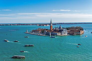 Venice, Italy San Giorgio Maggiore Island. Day view of San Zorzi Mazor with church at Venetian lagoon, with Lido background view