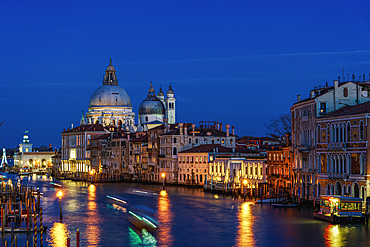 Grand Canal night view and buildings on Dorsoduro with Santa Maria Della Salute (Basilica of Saint Mary of Health), Venice, UNESCO World Heritage Site, Veneto, Italy, Europe