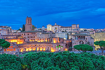 Trajans Market (Mercati di Traiano) and Casa dei Cavalieri di Rodi (House of the Knights of Rhodes) at blue hour, UNESCO World Heritage Site, elevated view, Rome, Lazio, Italy, Europe
