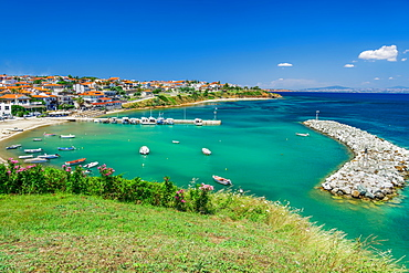 Coastal village with fishing port, hilltop view of Nea Fokaia at Kassandra peninsula with low rise buildings, Chalkidiki, Greece, Europe - 1278-250