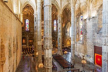 Lisbon, Portugal interior of Jeronimos Monastery, Hieronymites Monastery, church of Santa Maria del Belem, with pillars.