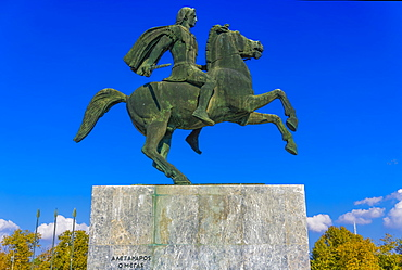 Statue of Alexander The Great on Bucephalus horse at the city waterfront, Thessaloniki, Greece, Europe