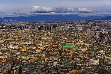 Northern city skyline view of buildings with skyscrapers and Napoli Centrale railway station area, Naples, Campania, Italy, Europe