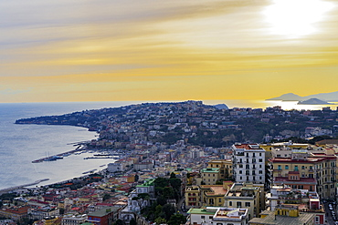 Panoramic sunset view of Mergellina coastal section seen from Sant Elmo castle in Naples, Campania, Italy, Europe