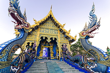Exterior view of Wat Rong Suea Ten (Blue Temple) in Chiang Rai, Thailand, Southeast Asia, Asia