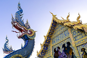 Front entrance of Wat Rong Suea Ten (Blue Temple) in Chiang Rai, Thailand, Southeast Asia, Asia