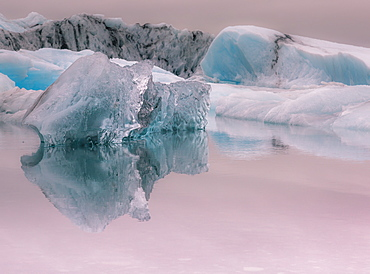 Iceberg reflections, Jokulsarlon lagoon, Iceland, Polar Regions