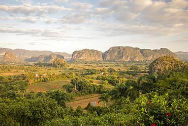 Sunrise view of Vinales Valley, UNESCO World Heritage Site, Vinales, Pinar del Rio, Cuba, West Indies, Caribbean, Central America