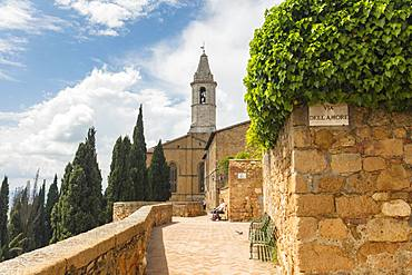 A street and view of the Cathedral tower in Pienza, UNESCO World Heritage Site, Tuscany, Italy, Europe