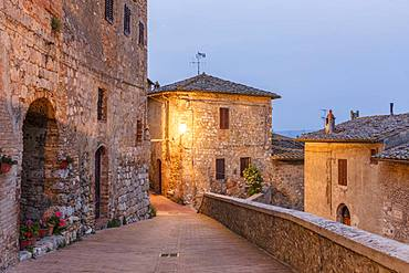 Dawn view of a street in San Gimignano, UNESCO World Heritage Site, Tuscany, Italy, Europe