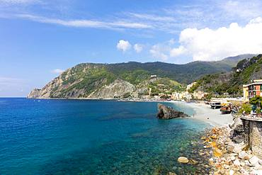 View of the beach at Monterosso on a sunny day with blue skies, Cinque Terre, UNESCO World Heritage Site, Liguria, Italy, Europe