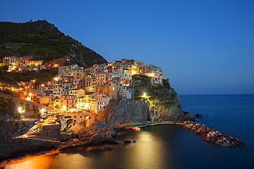 Dusk view of Manarola, Cinque Terre, UNESCO World Heritage Site, Liguria, Italy, Europe