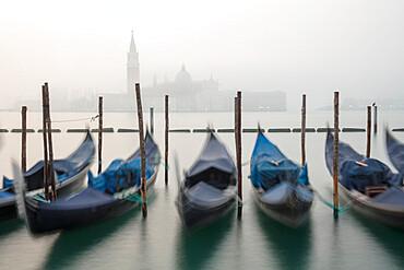 Gondolas in the fog with the Church of San Giorgio Maggiore in the background, Venice, UNESCO World Heritage Site, Veneto, Italy, Europe