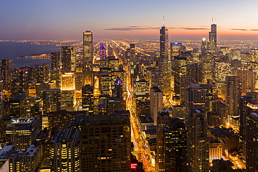 Chicago at sunset from 875 North Michigan Avenue (John Hancock Tower), looking towards Willis (Sears) and Trump Tower, Chicago, Illinois, United States of America, North America