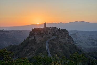 Sunrise at Civita di Bagnoregio, a hill-top town, Province of Viterbo, Italy, Europe