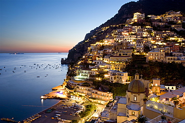 Sunset overlooking Positano on the Amalfi Coast, UNESCO World Heritage Site, Campania, Italy, Europe