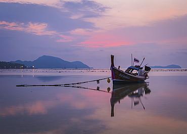 Long-tail boat on Rawai Beach, Phuket, Thailand, Southeast Asia, Asia
