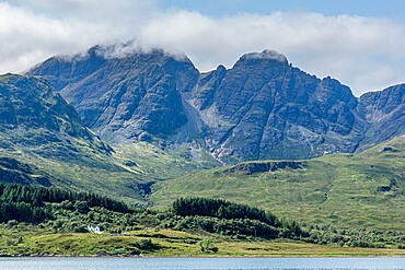 Looking across Loch Slapin to the soaring peaks of Bla Bheinn, From the summit you have 360° views over the Isle of Skye