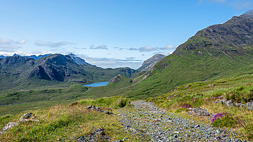 The rough road from Kilmarie to Camasunary on Skye. In the distance the towering pinnacles of Sgurr nan Gillean can be seen.
