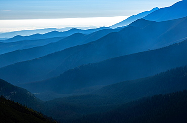 Looking over the Tatra Mountains from the summit of Giewont, 1894m, above the town of Zakopone, Poland, Europe - 1287-82