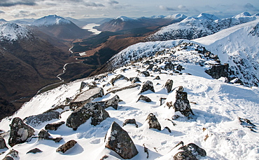 Looking down into Glen Etive and Loch Etive in distance from the summit of Stob Dubh on Buchaille Etive Mor, Highlands, Scotland, United Kingdom, Europe - 1287-87