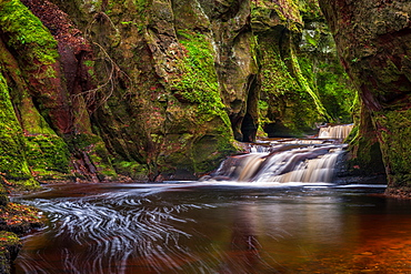 The gorge at Finnich Glen, known as Devils Pulpit near Killearn, Stirling, Scotland, United Kingdom, Europe