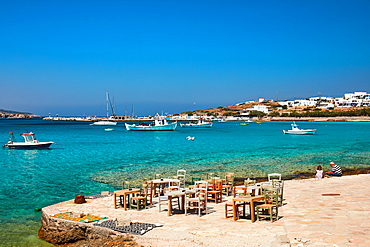 Koufonisi island and village and boats, Koufonisi, Cyclades Islands, Greek Islands, Greece, Europe