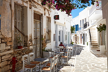 Parikia town empty street, Parikia, Paros, Cyclades Islands, Greek Islands, Greece, Europe